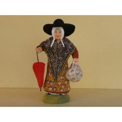 Femme au baluchon parapluie